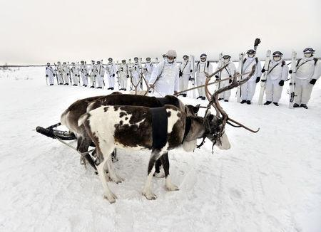 Russian servicemen of the Northern Fleet's Arctic mechanised infantry brigade participate in a military drill on riding reindeer and dog sleds near the settlement of Lovozero outside Murmansk, Russia January 23, 2017. Picture taken January 23, 2017. Lev Fedoseyev/Ministry of Defence of the Russian Federation/Handout via REUTERS