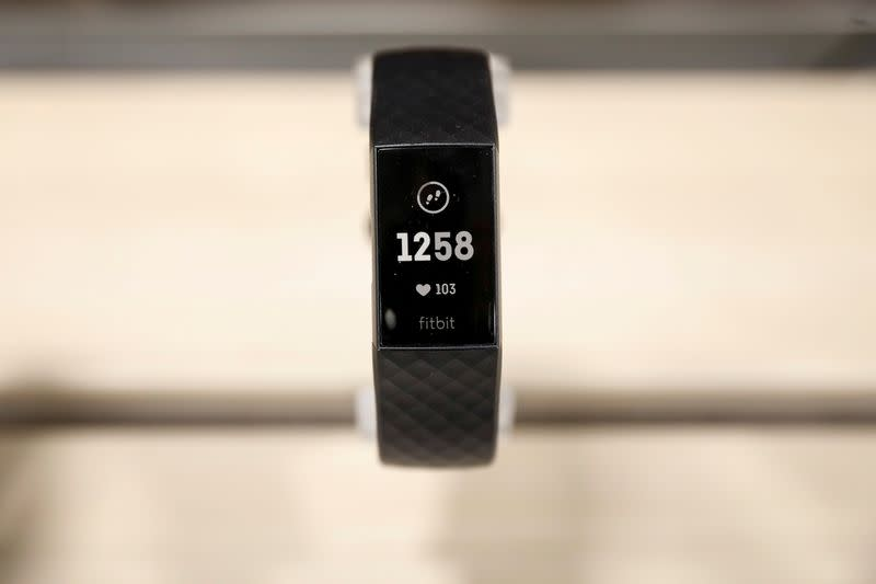 FILE PHOTO: A Fitbit device is displayed in a store in New York