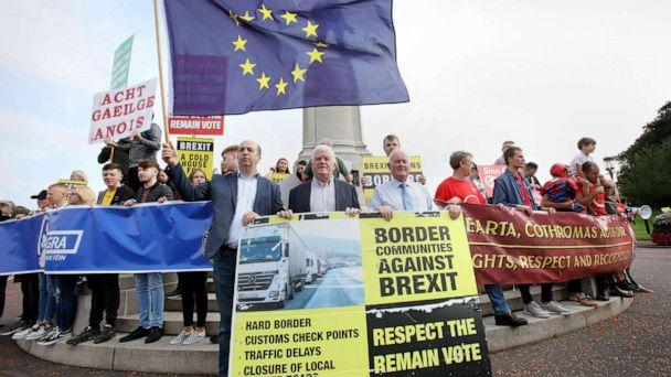 PHOTO: Anti-Brexit demonstrators protest outside Stormont house as Britain's Prime Minister Boris Johnson visits Belfast on July 31, 2019. (Paul Faith/AFP/Getty Images, FILE)