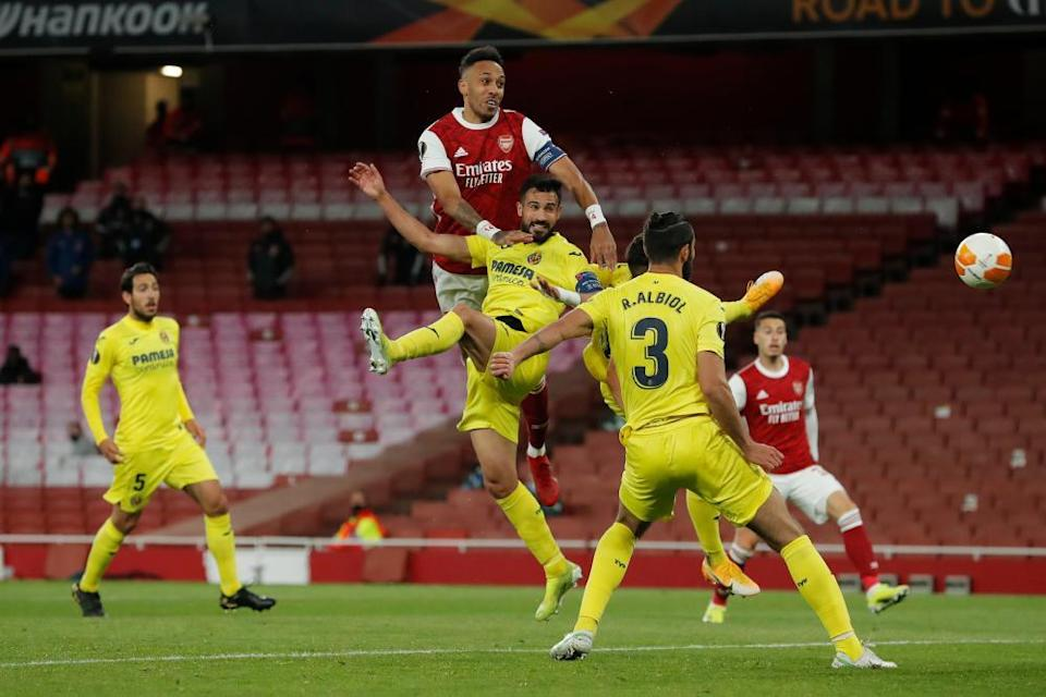 Pierre-Emerick Aubameyang hits the post for the first time on the night with a towering header but Arsenal huffed and puffed to little effect.