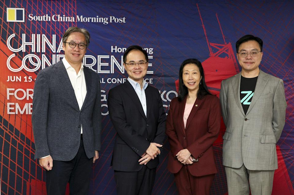 (L-R)Lawrence Lam, chief executive and customer business manager of Citibank (Hong Kong); Ryan Fung, chief executive of Ping An OneConnect Bank; Enoch Yiu, Chief Reporter, Business, SCMP; Rockson Hsu, chief executive of ZA Bank; attend SCMP China Conference in the SCMP office in Causeway Bay on June 16, 2021. Photo: SCMP