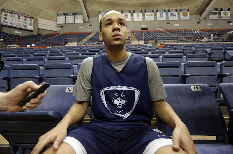 Connecticut's Shabazz Napier responds to a question following an NCAA college basketball team workout Tuesday, April 1, 2014, in Storrs, Conn. UConn will be playing Florida in the Final Four on Saturday in Dallas. (AP Photo/Steven Senne)