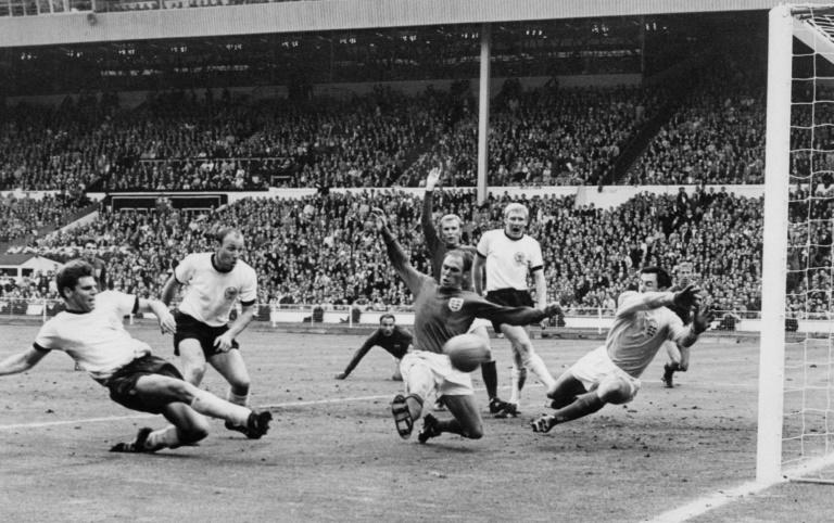 Gordon Banks was unable to stop this goal from Germany defender Wolfgang Weber in the 1966 World Cup final but England went on to lift the trophy