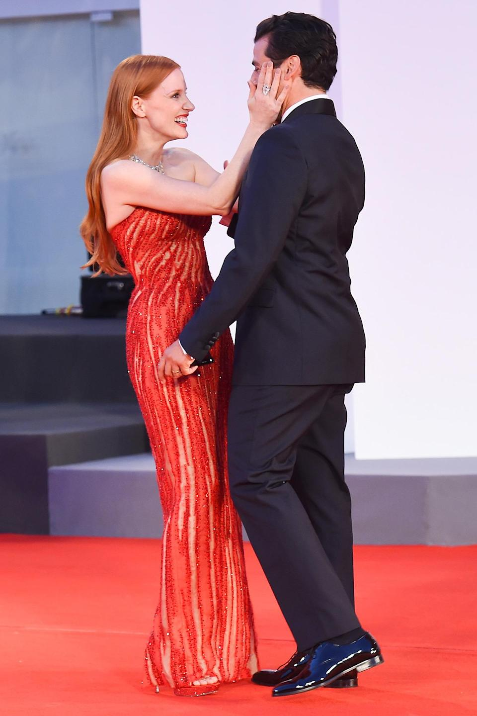 <p>No, there's nothing cheeky going on here, Isaac is married to screenwriter and director, Elvira Lind, and Chastain is married to fashion executive Gian Luca Passi de Preposulo.</p>
