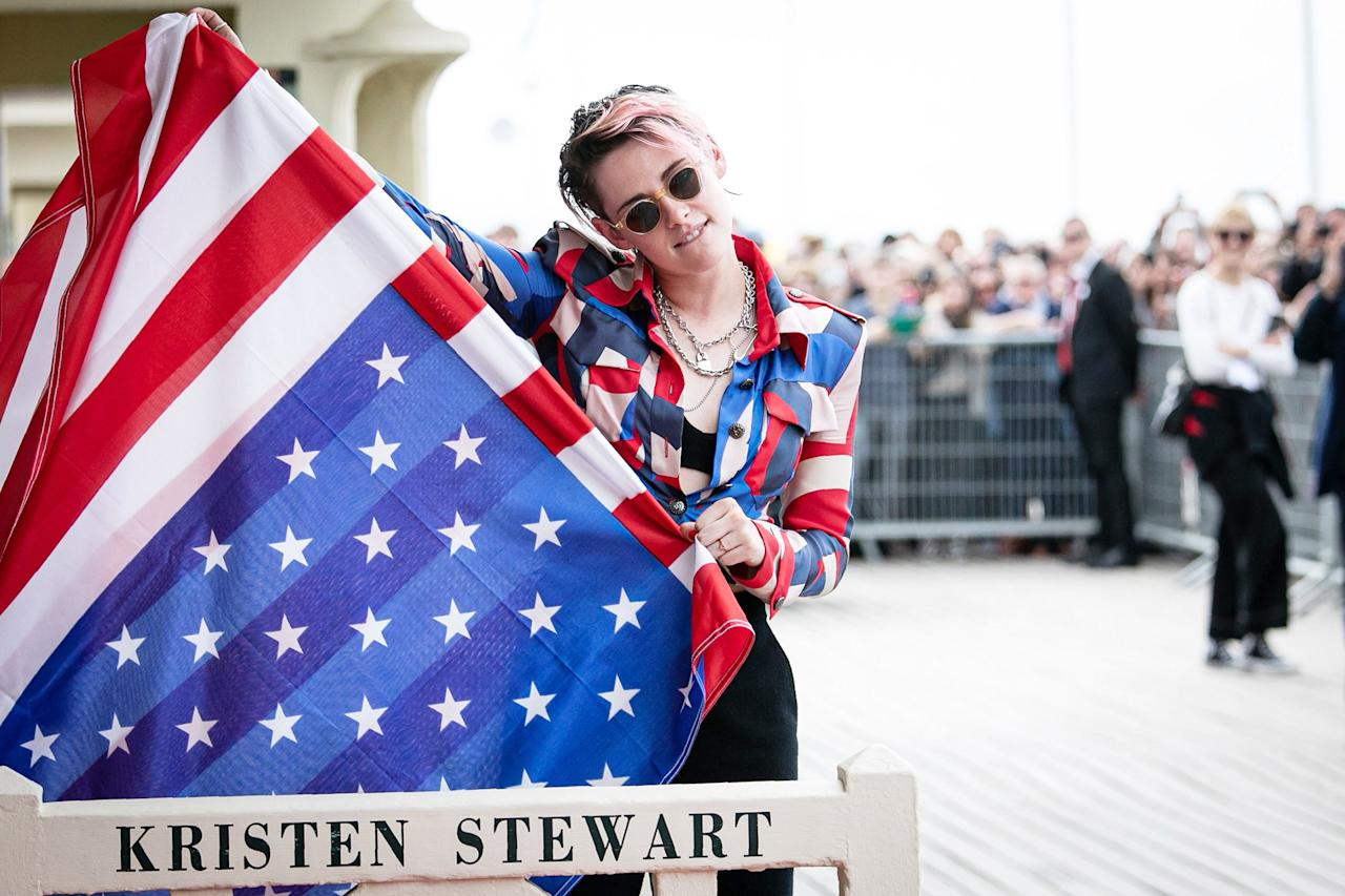 Kristen Stewart reveals the beach closet dedicated to her during the 45th Deauville American Film Festival in France on Friday.
