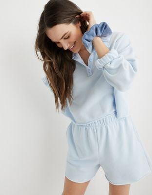 <p>This <span>Aerie Fleece-Of-Mind Cropped Polo Sweatshirt</span> ($31, originally $45) and <span>High Waisted Short</span> ($35) is the perfect spring sweatsuit. It comes in lots of colors, but we love this baby blue.</p>