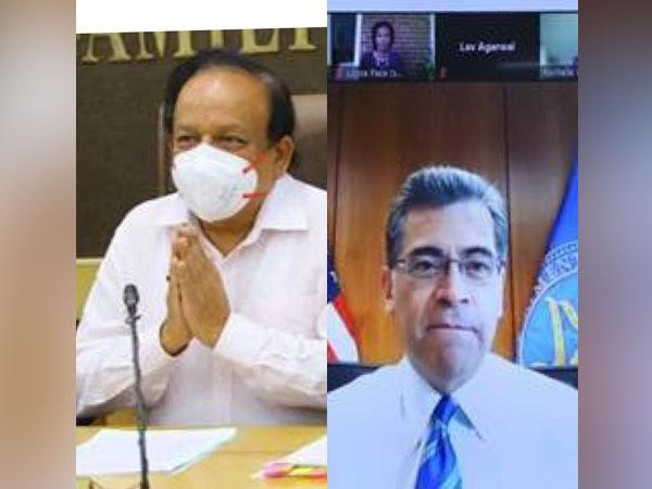 Union Health Minister Harsh Vardhan and Xavier Becerra, US newly appointed Secretary of Health