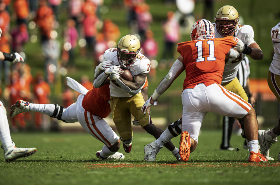 Clemson DT Jordan Williams (59) tackles Boston College running back Travis Levy (23) during the first half of an NCAA college football game Saturday, Oct. 31, 2020, in Clemson, S.C. (AP)