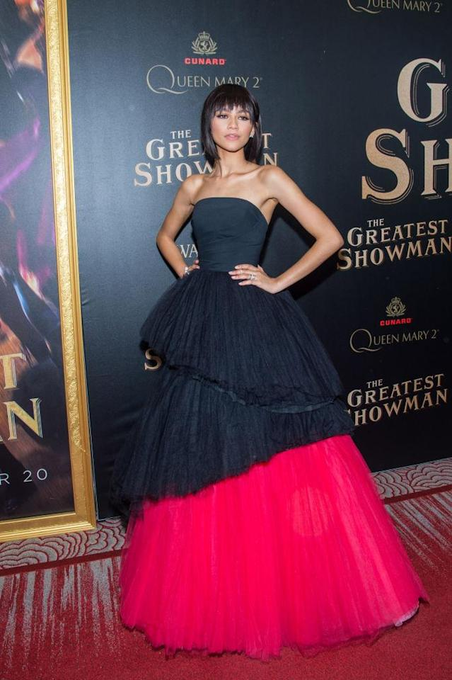 <p>Zendaya rocked a princess-inspired Viktor & Rolf gown and a blunt short hairstyle to kick off <em>The Greatest Showman</em> press tour, at the film's world premiere in Brooklyn. (Photo: Getty Images) </p>
