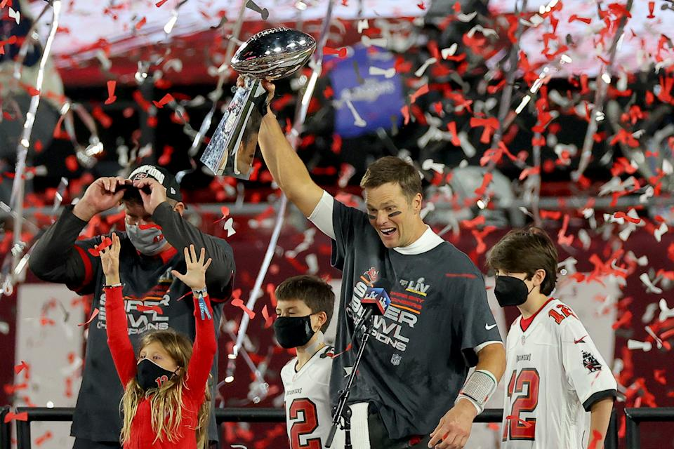 Tom Brady celebrates with the Lombardi Trophy after defeating the Kansas City Chiefs in Super Bowl LV at Raymond James Stadium on February 07, 2021 in Tampa, Florida. (Photo by Kevin C. Cox/Getty Images)