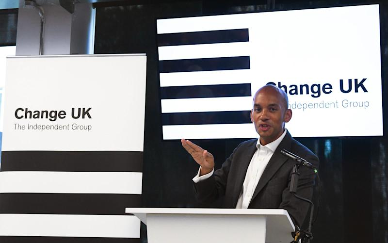 Change UK MP Chuka Umunna stands in front of the party's much-maligned logo at a rally in Manchester last week (Paul Ellis/AFP/Getty Images)