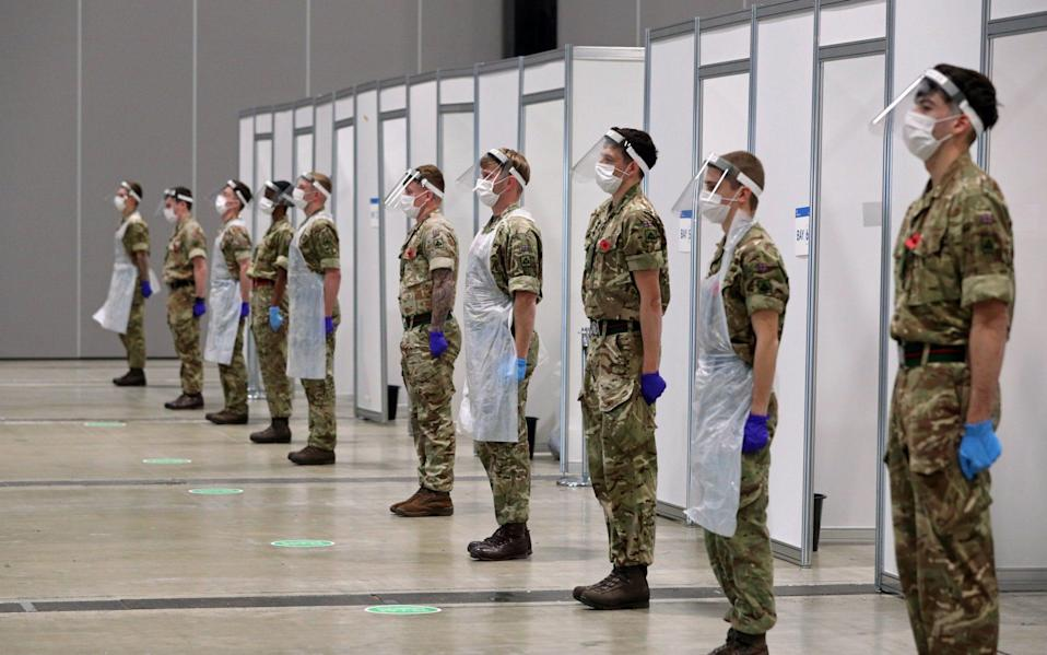 Soldiers helping with the mass covid testing on Merseyside  - Peter Byrne/PA