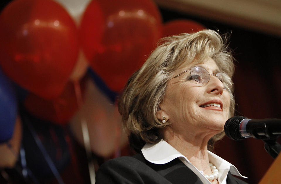 FILE — In this Oct. 13, 2010, file photo then U.S. Sen. Barbara Boxer, D-Calif., addresses a crowd of supporters during a campaign stop in Lincoln, Calif. Boxer was assaulted and robbed Monday July 26, 2021, in the Jack London neighborhood of Oakland, Calif. A statement on Boxer's verified Twitter account says the assailant pushed her in the back, stole her cell phone and jumped into a waiting car. The 80-year-old Boxer was not seriously injured. (AP Photo/Rich Pedroncelli, File)