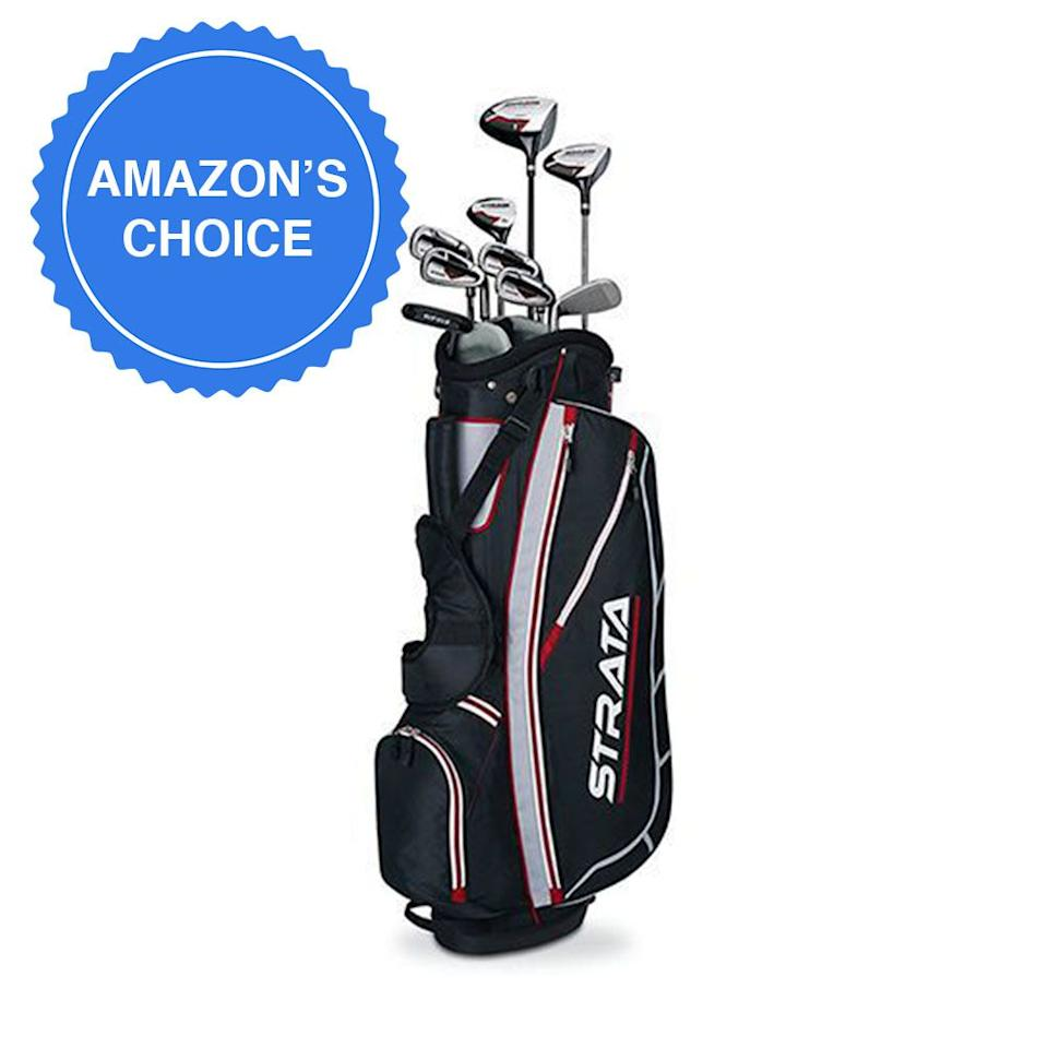 """<p><strong>Callaway</strong></p><p>amazon.com</p><p><strong>$199.99</strong></p><p><a href=""""http://www.amazon.com/dp/B00Q8I1BX8/?tag=syn-yahoo-20&ascsubtag=%5Bartid%7C2089.g.1543%5Bsrc%7Cyahoo-us"""" target=""""_blank"""">Shop Now</a></p><p>Callaway offers this 9-club set (12 pieces when counting two head covers and the bag) as the perfect entry-level option for someone needing all the essentials in an affordable, ready-to-swing package from a respected brand.</p><p>Complete with a lightweight stand bag, this set includes a driver, a 3-wood, a 5-hybrid, six irons, a pitching wedge, and a putter. The driver has an oversized head and sweet spot, comparable to higher-priced clubs that the pros play with, and the 5-hybrid provides a great alternative to those pesky long irons.</p><p>This set is also a top pick of <a href=""""https://www.gearhungry.com/best-golf-club-sets/"""" target=""""_blank"""">Gearhungry</a>, <a href=""""https://www.businessinsider.com/best-golf-clubs#the-best-complete-set-for-beginners-2"""" target=""""_blank"""">Business Insider</a>, and <a href=""""https://heavy.com/sports/2018/10/best-golf-clubs-for-beginners/"""" target=""""_blank"""">Heavy.com</a>. It's offered in <a href=""""https://www.amazon.com/Callaway-Strata-Ultimate-Complete-Piece/dp/B07H2CKPJV"""" target=""""_blank"""">16-</a> and <a href=""""http://www.amazon.com/dp/B00HK8BW2A"""" target=""""_blank"""">18-piece</a> versions, and <a href=""""https://www.amazon.com/Callaway-Golf-Ultimate-Complete-Graphite/dp/B07H2HZXXZ"""" target=""""_blank"""">women</a> can get it, too!</p><p><strong>More:</strong> <a href=""""https://www.bestproducts.com/fitness/equipment/g1374/spacious-golf-bags-backpacks/"""" target=""""_blank"""">Best Golf Bags for Toting Around Your Goodies</a></p>"""