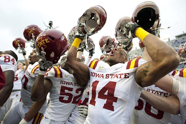 FORT WORTH, TX - OCTOBER 6: Jared Brackens #14 of the Iowa State Cyclones celebrates with teammates after defeating the TCU Horned Frogs during the Big 12 Conference game on October 6, 2012 at Amon G. Carter Stadium in Fort Worth, Texas. (Photo by Cooper Neill/Getty Images)