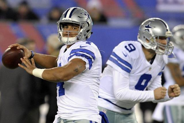 Dak Prescott quieted questions about his play on Sunday night. (AP)