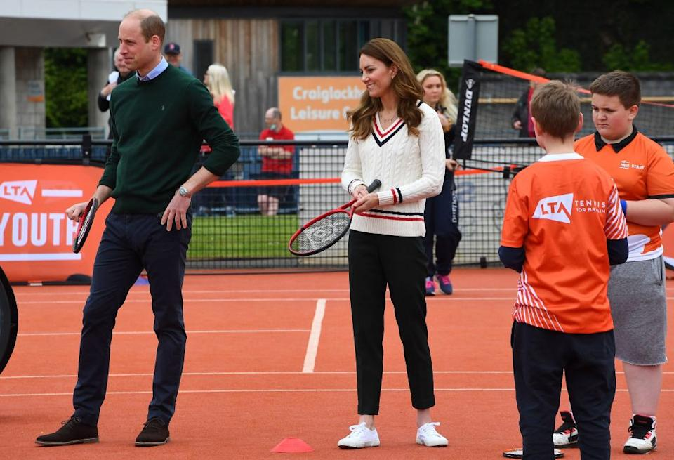 The Duke and Duchess of Cambridge played tennis during the final day of their visit to Scotland. Photo by ANDY BUCHANAN / various sources / AFP) (Photo by ANDY BUCHANAN/AFP via Getty Images)