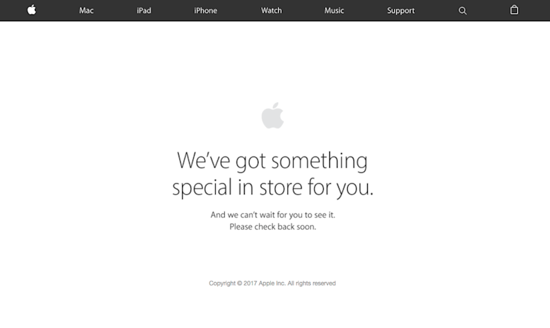 apple store website down english message ipads