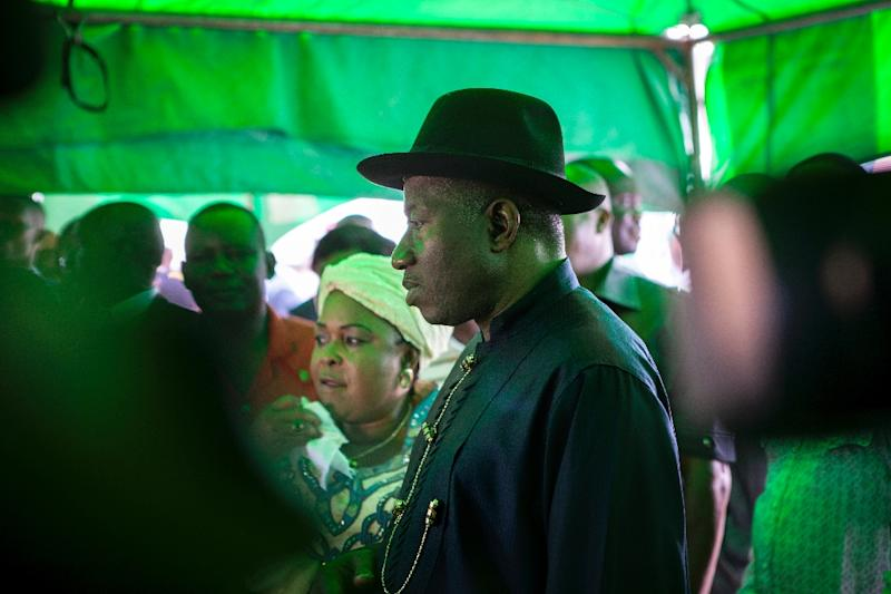 Incumbent Nigerian president Goodluck Jonathan in Otuoke on March 28, 2015 (AFP Photo/Florian Plaucheur)