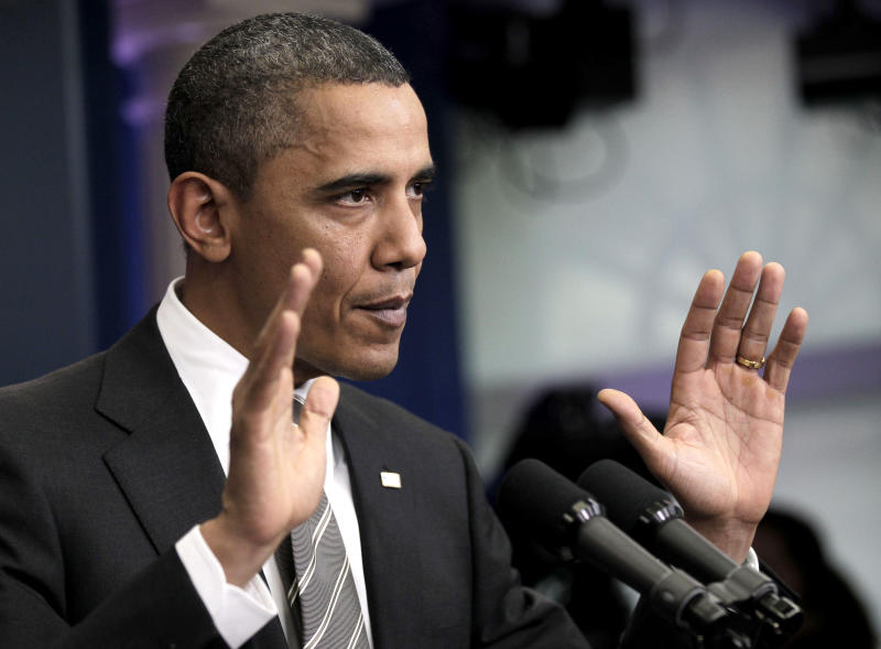 President Barack Obama gestures during his news conference at the White House in Washington, Tuesday, Dec., 7, 2010. (AP Photo/Pablo Martinez Monsivais)