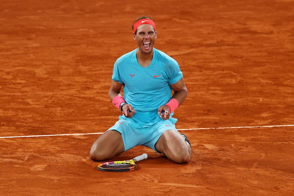 Rafael Nadal celebrates after winning the French Open on Sunday. (Photo by Julian Finney/Getty Images)