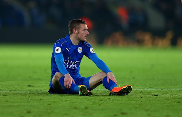 <p>A dejected looking Jamie Vardy of Leicester City during the Premier League match between Leicester City and Manchester United at The King Power Stadium on February 5, 2017 in Leicester, England. </p>