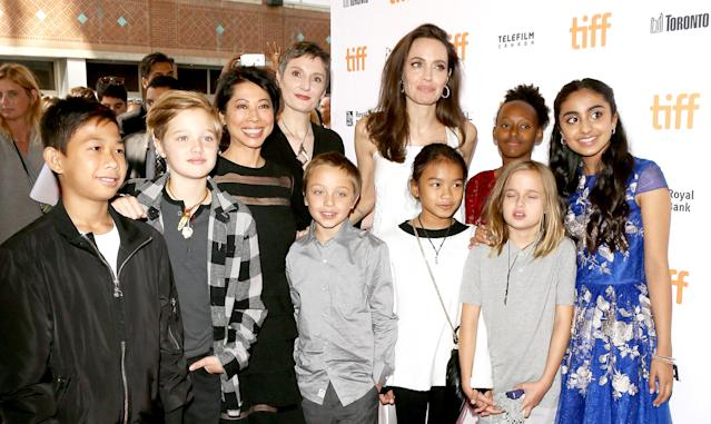 Angelina Jolie brings her six children to <em>The Breadwinner</em> premiere in September 2017. (Photo: Michael Tran/Getty Images)