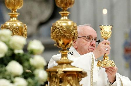 Pope Francis celebrates the Mass marking the Roman Catholic Church's World Day of the Poor, at the Vatican