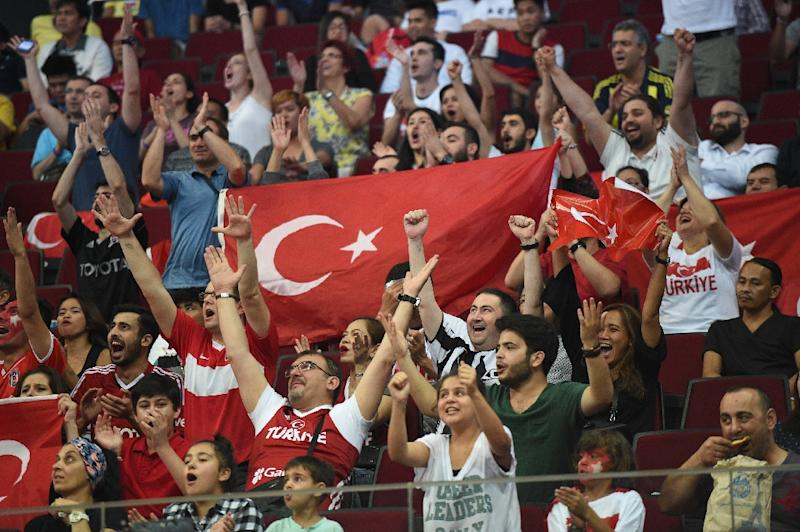 basketball fans cheering. turkey fans cheer for their national team during the 2016 fiba olympic men\u0026#39; basketball cheering