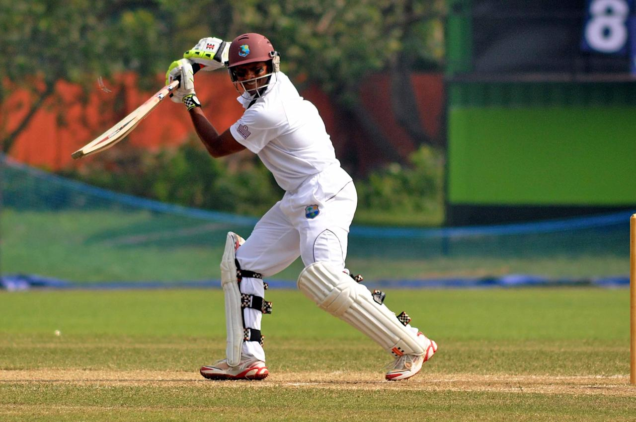 West Indies player S Chanderpaul in action during Day 2 of practice match between West Indies and Uttar Pradesh Cricket Association XI at the Jadavpur University Ground in Kolkata on Nov.1 2013. (Photo: IANS)