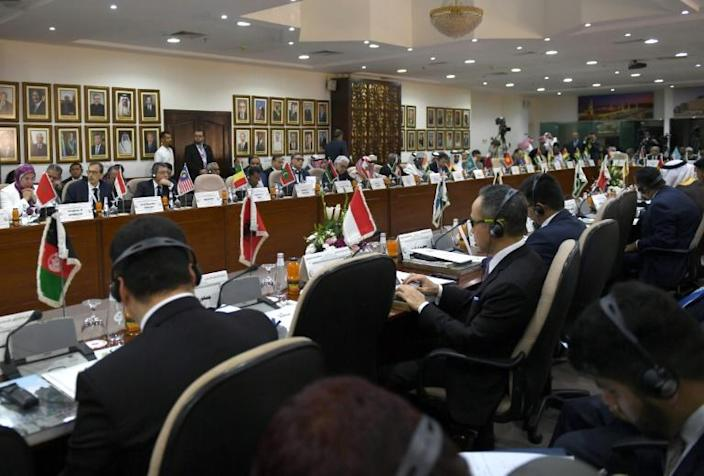 Emergency ministerial meeting of the Organisation of Islamic Cooperation (OIC) in the Saudi port city of Jeddah rejects US President Donald Trump's Middle East plan (AFP Photo/Amer HILABI)