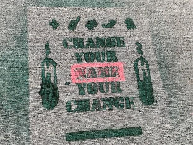 This stencil was sprayed outside of Langevin School by the Change Langevin School Committee.