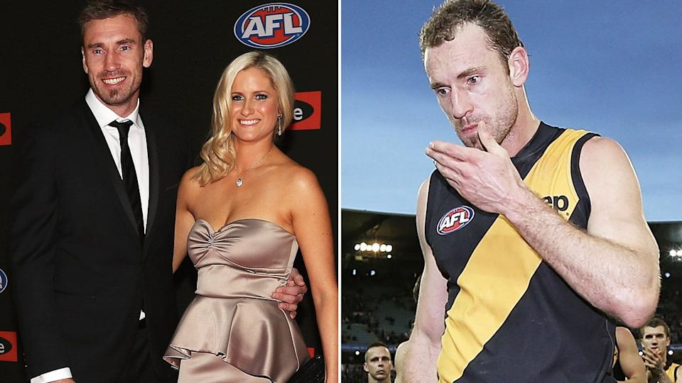 Shane Tuck pictured with his wife Katherine and (right) during his Tigers playing days.