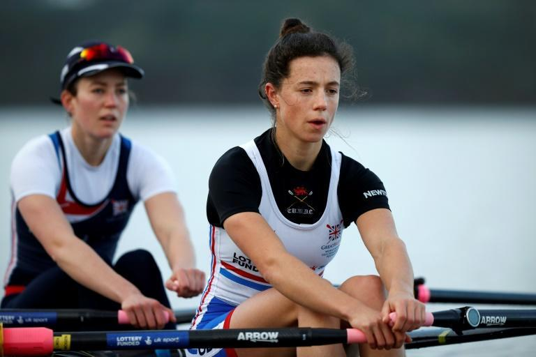 Britain's Imogen Grant (right) and Emily Craig take part in a training camp in Portugal