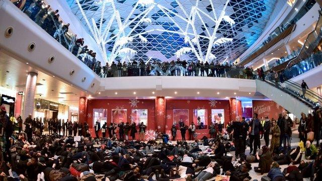 Police clash with protesters during 'die-in' protest at London Westfield