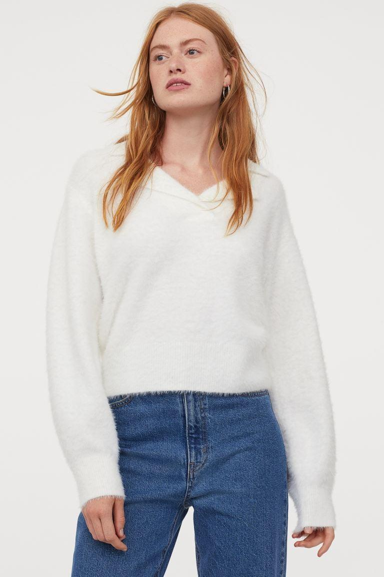 <p>We want to curl up in this <span>H&M Collared Knit Sweater</span> ($30).</p>