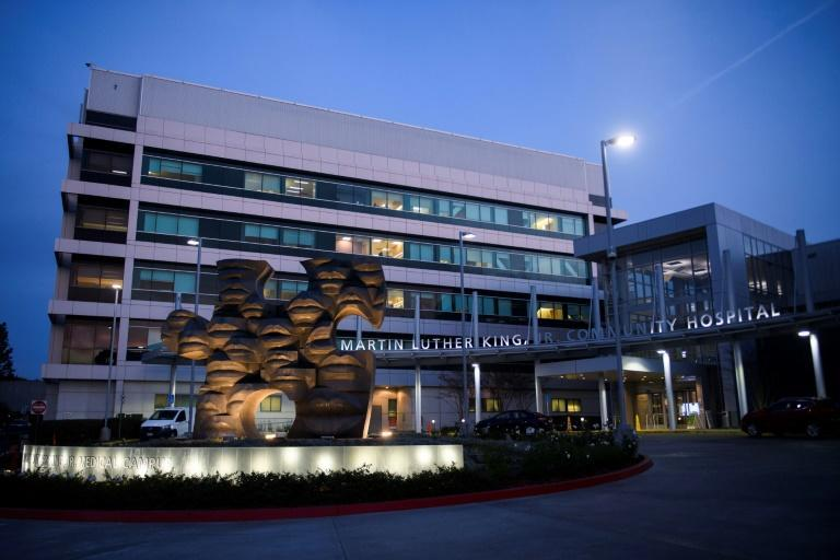 The Martin Luther King Jr. (MLK) Community Hospital, which continues to treat a surge of Covid-19 patients, stands on January 6, 2021 in the Willowbrook neighborhood of Los Angeles
