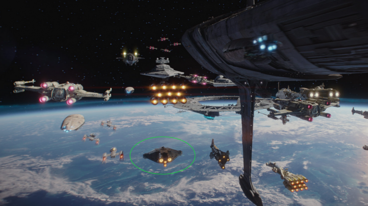 The Ghost prepares for the battle of Scarif in 'Rogue One' (Disney/Lucasfilm via StarWars.com)