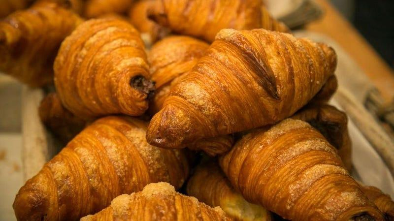 Pile of traditional croissants
