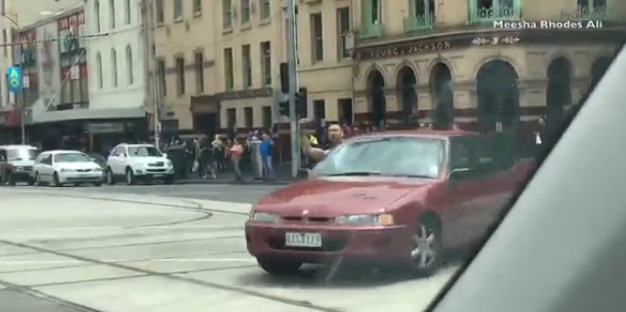 The driver was seen yelling and calling people on Melbourne's street