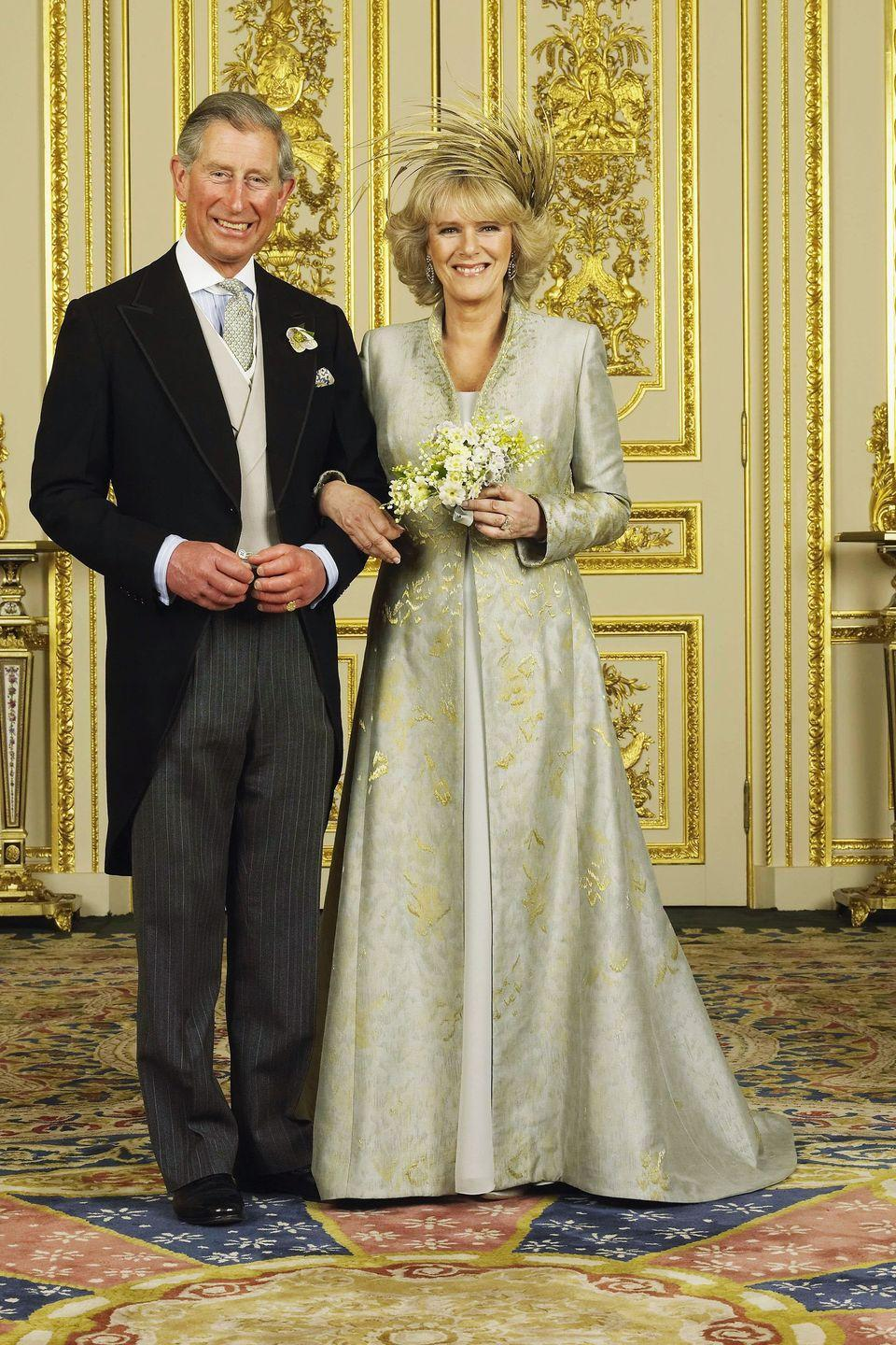 <p>At his wedding to Camilla Parker Bowles at Windsor Castle. </p>