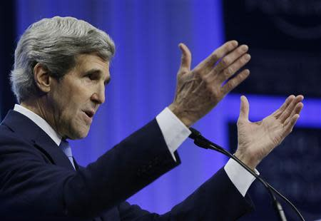 US Secretary of State Kerry delivers speech at World Economic Forum in Switzerland