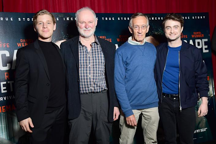 """From left to right, Daniel Webber, Stephen Lee, Tim Jenkin and Daniel Radcliffe at a screening for the film """"Escape From Pretoria"""" in London. (Photo: Ian West - PA Images via Getty Images)"""