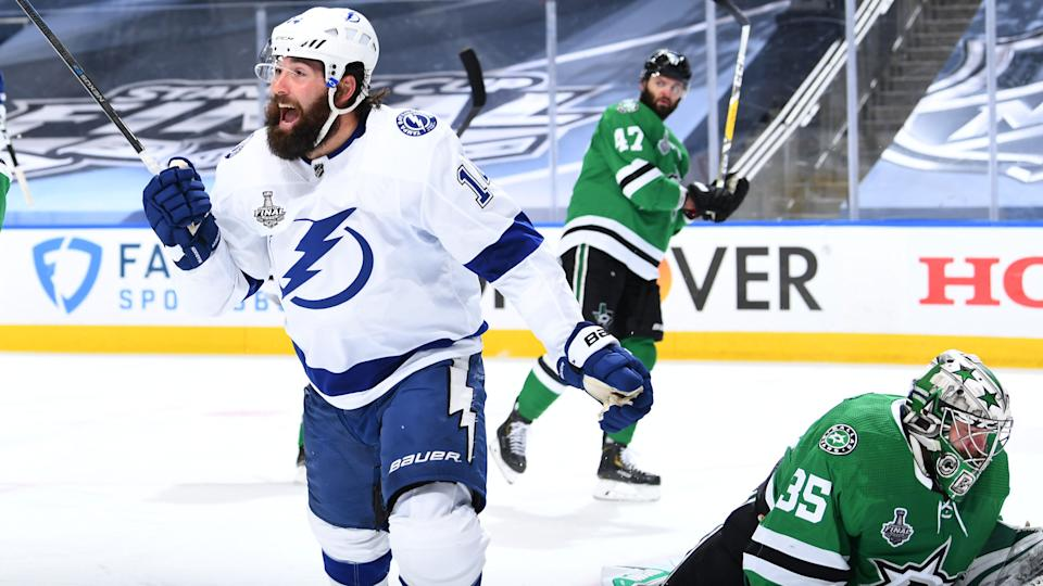 The Tampa Bay Lightning retained Patrick Maroon on a two-year deal. (Andy Devlin/NHLI via Getty Images)