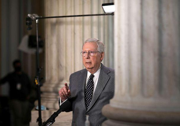 PHOTO: Senate Minority Leader Mitch McConnell stops for a television interview on Capitol Hill in Washington, March 3, 2021. (Leah Millis/Reuters)