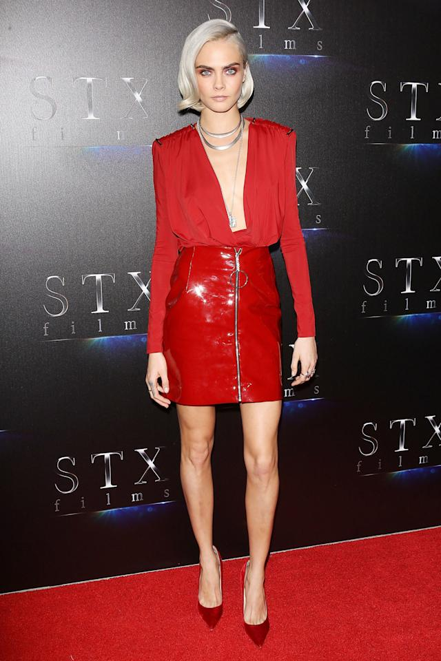 <p>Who: Cara Delevingne <span></span></p><p>When: March 28, 2017 <span></span></p><p>What: Mugler</p><p>Why: Red hot has never been more appropriate than Cara Delevingne at CinemaCon in Las Vegas this week. She paired a fiery patent mini with a plunging neckline, matching pumps, and unexpected silver chains. </p>