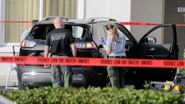 PHOTO: Forensic technicians work on the vehicle authorities say officers fired shots at, that breached security at President Donald Trump's Mar-a-Lago resort in Palm Beach, Jan. 31, 2020, in West Palm Beach, Fla. (Terry Renna/AP)