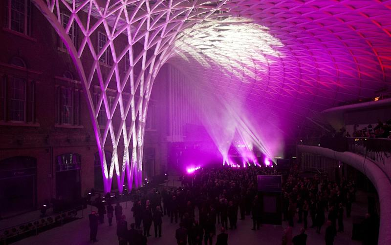 The new concourse is unveiled at King's Cross train station in London, Wednesday, March 14, 2012.  The new King's Cross station concourse, will be a new major London landmark which is expected to serve some 45 million passengers a year, it will open for public public Monday, March 19. (AP Photo/Brynjar Gauti)