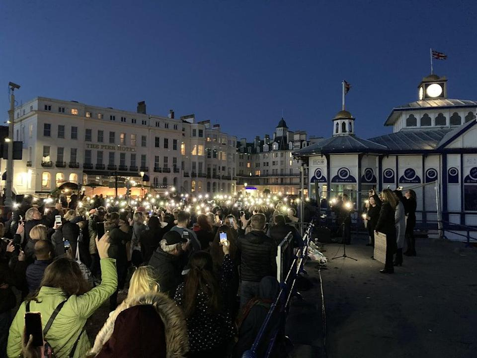 People at a vigil for Sabina Nessa at Eastbourne Pier (Michael Drummond/PA) (PA Wire)