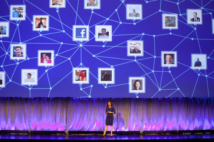 Sheryl Sandberg, Chief Operating Officer of Facebook, speaks at a Facebook event for marketing professionals, Wednesday, Feb. 29, 2012 in New York. New, potentially lucrative advertising opportunities are coming to Facebook as a prelude to its initial public offering of stock. The idea is to lure big brands with the promise of effective, precisely targeted ads that reach the social network's 845 million users.(AP Photo/Mark Lennihan)